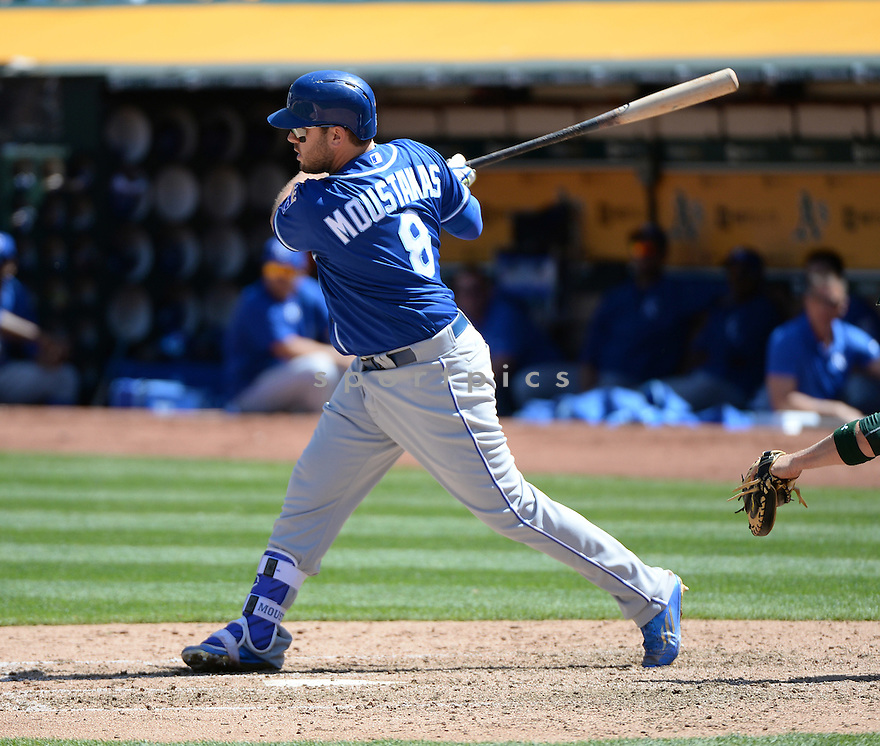 Kansas City Royals Mike Moustakas (8) during a game against the Oakland A's on April 17, 2016 at Oakland Coliseum in Oakland, CA. The A's beat the Royals 3-2.