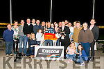 Aghaburren Lola winner of the Steve Kennedy Memorial Sweepstake Final at the Kingdom Greyhound Stadium on Friday. pictured  Steve Kennedy,Son, presents to  Con Guiney, Owner/Trainer from Cork, and  Murt Murphy, Chairman of the KGS supporters club.Presenting the trophy to Maria Guiney