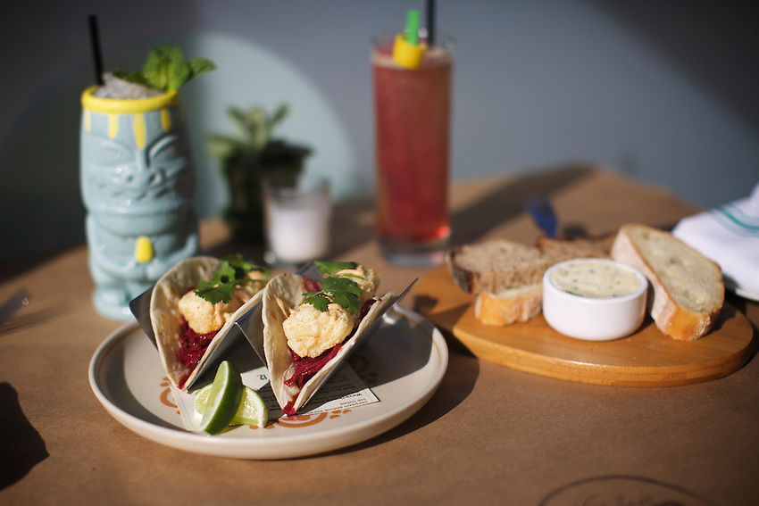 Jersey City, NJ - April 27, 2016: Fish Tacos at The Kitchen Step, the new modern American restaurant by chef Ryan DePersio in Jersey City.<br /> <br /> CREDIT: Clay Williams for Gothamist<br /> <br /> &copy; Clay Williams / claywilliamsphoto.com