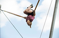 NWA Democrat-Gazette/BEN GOFF @NWABENGOFF<br /> Avyn Hazzard of Stillwater, Okla. jumps on the Flippin Crazy bungee trampoline Friday, July 5, 2019, during First Friday on the Bentonville Square. The theme for July was 'Great Outdoors.'