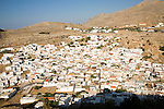 Whitewashed housing in village of Lindos, Rhodes, Greece