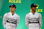 Lewis HAMILTON, GBR, Team Mercedes-AMG-Petronas Formula One, race winner and Nico ROSBERG, runner up, <br /> SUZUKA, JAPAN, 05.10.2014, Formula One F1 race, podium, JAPAN Grand Prix, Grosser Preis, GP du Japon, Motorsport, Photo by: Sho TAMURA/AFLO SPORT  -  GERMANY OUT