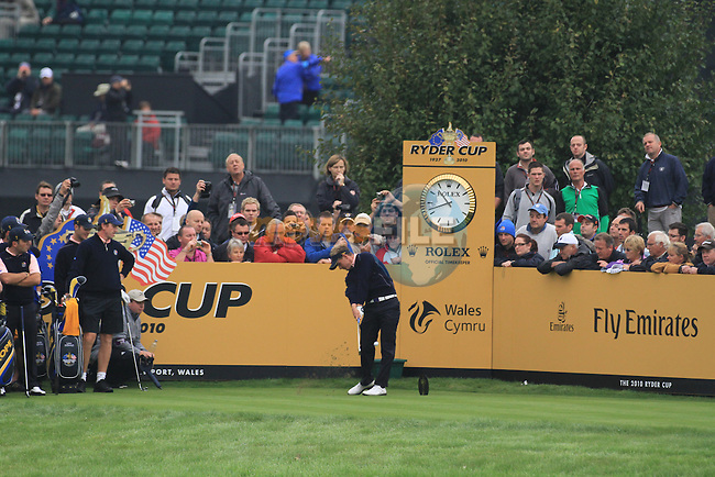 2010 Ryder Cup at the Celtic Manor twenty ten course, Newport Wales, 30/9/2010 Practice Day 3..Luke Donald teeing off on the 13th..Picture Fran Caffrey/www.golffile.ie.