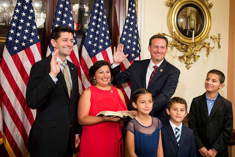 UNITED STATES – July 10: Speaker of the House Paul Ryan, R-Wis., swears In Rep.-elect Michael Cloud, R-Texas, in the Capitol on Tuesday, July 10, 2018. (Photo By Sarah Silbiger/CQ Roll Call)
