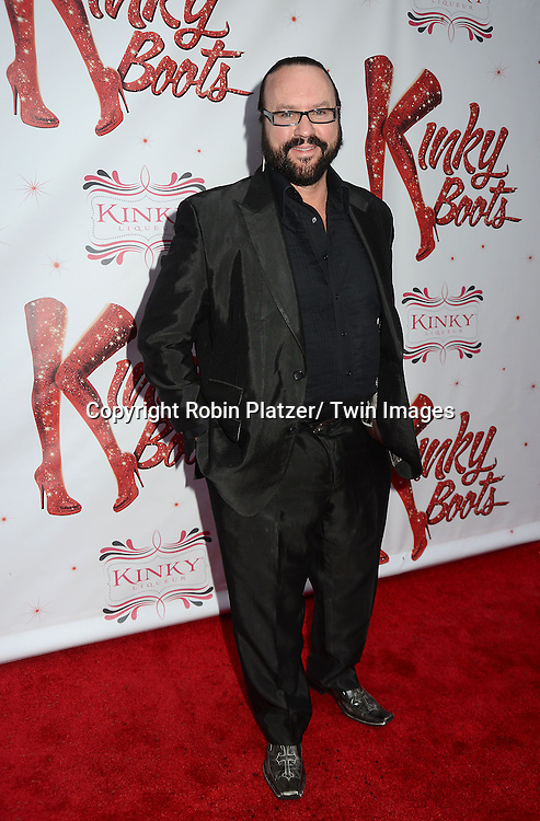"Desmond Child arrives at the ""Kinky Boots"" Broadway Opening on April 4, 2013 at The Al Hirschfeld Theatre in New York City. Harvey Fierstein wrote is the Book Writer and Cnydi Lauper is the Composer."