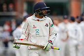 7th September 2017, Emirates Old Trafford, Manchester, England; Specsavers County Championship, Division One; Lancashire versus Essex; Disappointment for Haseeb Hameed of Lancashire after he had been trapped lbw by Sam Cook of Essex for 88