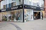 Topshop and Topman shop in central business district of Swindon, England
