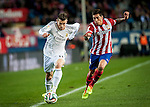 Vicente Calderon. Madrid. Spain. 11.02.2014. Football match between Atletico de Madrid and Real Madrid. Gareth Bale, Emiliano Insua