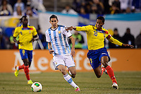 Argentina midfielder Angel Di Maria (7) is marked by Ecuador midfielder Luis Antonio Valencia (16). Argentina and Ecuador played to a 0-0 tie during an international friendly at MetLife Stadium in East Rutherford, NJ, on November 15, 2013.