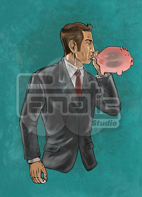 Illustrative image of businessman blowing piggybank representing business insurance