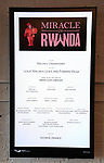 """Theatre Marquee for  """"Miracle in Rwanda"""" honoring International Day of Reflection on the 1994 Genocide against the Tutsi in Rwanda at the Lion Theatre on Theater Row on April 7, 2019 in New York City."""