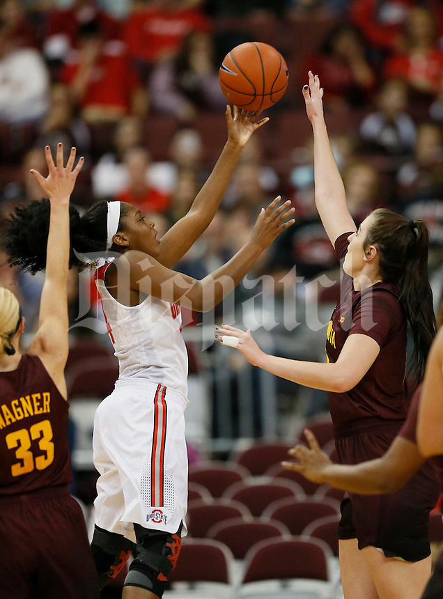 Ohio State Buckeyes guard/forward Sierra Calhoun (4) shoots in the first half of a NCAA women's basketball game between the Ohio State Buckeyes and the Minnesota Golden Gophers on Wednesday, December 28, 2016, at Value City Arena. (Columbus Dispatch photo by Fred Squillante)