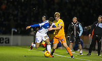 Ryan Sellers of Wycombe Wanderers and Paris Cowan-Hall of Bristol Rovers battle for the ball during the Sky Bet League 2 rearranged match between Bristol Rovers and Wycombe Wanderers at the Memorial Stadium, Bristol, England on 1 December 2015. Photo by Andy Rowland.