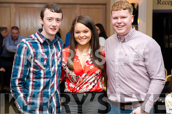Micheál Madden, Rachel Rogers and Eoin Lyons, Ballymac, pictured at Ballymac Strictly Come Dancing, at Ballygarry House Hotel & Spa, Tralee, on Saturday night last.
