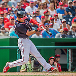 11 September 2016: Washington Nationals outfielder and Baseball America top prospect Trea Turner connects for his second single of the day in the 3rd inning  against the Philadelphia Phillies at Nationals Park in Washington, DC. The Nationals edged out the Phillies 3-2 to take the rubber match of their 3-game series. Mandatory Credit: Ed Wolfstein Photo *** RAW (NEF) Image File Available ***