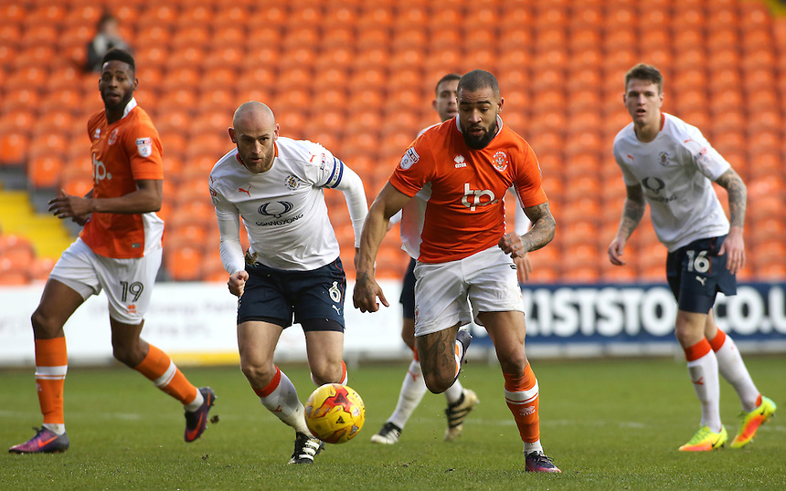 Blackpool's Kyle Vassell gets away from Luton Town's Scott Cuthbert<br /> <br /> Photographer David Shipman/CameraSport<br /> <br /> The EFL Sky Bet League Two - Blackpool v Luton Town - Saturday 17th December 2016 - Bloomfield Road - Blackpool<br /> <br /> World Copyright &copy; 2016 CameraSport. All rights reserved. 43 Linden Ave. Countesthorpe. Leicester. England. LE8 5PG - Tel: +44 (0) 116 277 4147 - admin@camerasport.com - www.camerasport.com