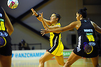 Liana Leota passes during the ANZ Netball Championship match between the Central Pulse and Waikato Bay Of Plenty Magic at TSB Bank Arena, Wellington, New Zealand on Monday, 30 March 2015. Photo: Dave Lintott / lintottphoto.co.nz