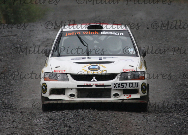 Quintin Milne - Martin Forrest at Junction 9 on Special Stage 1 Moorfield Motor Services Craignell of the GWF Energy Merrick Stages Rally 2013, Round 7 of the RAC MSA Scotish Rally Championship which was organised by Machars Car Club and Scottish Sporting Car Club and based in Wigtown on 7.9.13.