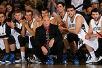 NOVEMBER 17, 2014 -- South Dakota Mines head men's basketball coach Jason Henry watches with his players on the bench during their college men's basketball game against Black Hills State Monday evening at the Donald E. Young Center in Spearfish, S.D.  (Photo by Dick Carlson/Inertia)