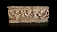 Roman relief garland sculpted sarcophagus.  Adana Archaeology Museum, Turkey. Against a black background