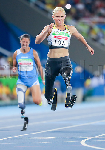 17.09.2016. Rio de Janeiro, Brazil. Vanessa Low of Germany competes in Women's 100m - T42, Final during the Rio 2016 Paralympic Games, Rio de Janeiro, Brazil, 17 September 2016.
