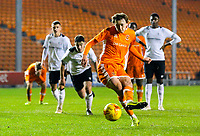 Blackpool's Nathan Shaw misses a penalty<br /> <br /> Photographer Alex Dodd/CameraSport<br /> <br /> The FA Youth Cup Third Round - Blackpool U18 v Derby County U18 - Tuesday 4th December 2018 - Bloomfield Road - Blackpool<br />  <br /> World Copyright © 2018 CameraSport. All rights reserved. 43 Linden Ave. Countesthorpe. Leicester. England. LE8 5PG - Tel: +44 (0) 116 277 4147 - admin@camerasport.com - www.camerasport.com
