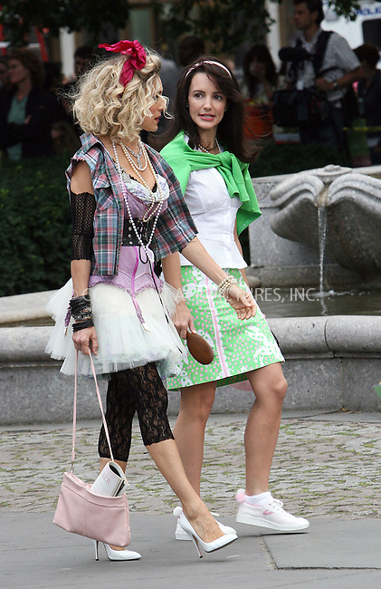 WWW.ACEPIXS.COM . . . . .  ....September 9 2009, New York City....Actresses Sarah Jessica Parker and Kristin Davis on the set of the new 'Sex and the City' movie on September 9 2009 in New York City....Please byline: NANCY RIVERA- ACE PICTURES.... *** ***..Ace Pictures, Inc:  ..tel: (212) 243 8787 or (646) 769 0430..e-mail: info@acepixs.com..web: http://www.acepixs.com