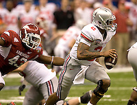 Terrelle Pryor of Ohio State in action during the game against Arkansas during 77th Annual Allstate Sugar Bowl Classic at Louisiana Superdome in New Orleans, Louisiana on January 4th, 2011.  Ohio State defeated Arkansas, 31-26.