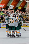 29 December 2018: University of Vermont Catamount Forward Max Kaufman, a Sophomore from Rochester, NY, celebrates Vermont's first goal of the game with teammates in the final moments of the second period at Gutterson Fieldhouse in Burlington, Vermont. The Catamounts rallied from a 2-0 deficit to defeat RPI 4-2 and win the annual Catamount Cup Tournament. Mandatory Credit: Ed Wolfstein Photo *** RAW (NEF) Image File Available ***