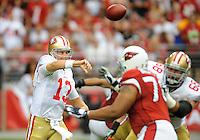 Sept. 13, 2009; Glendale, AZ, USA; San Francisco 49ers quarterback (13) Shaun Hill throws a pass against the Arizona Cardinals at University of Phoenix Stadium. San Francisco defeated Arizona 20-16. Mandatory Credit: Mark J. Rebilas-