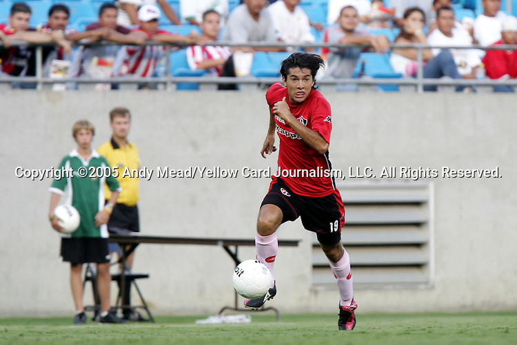 Mauricio Romero of Atlas on Sunday, July 17, 2005, at Bank of America Stadium in Charlotte, North Carolina. U.A.G. Tecos defeated Atlas (both of the Mexican soccer league) 1-0 in a preseason game.