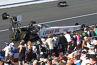 Feb 13, 2016; Pomona, CA, USA; NHRA top fuel driver Richie Crampton during the Winternationals at Auto Club Raceway at Pomona. Mandatory Credit: Mark J. Rebilas-USA TODAY Sports