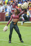 Landover, MD - September 23, 2018: Washington Redskins cheerleader in action during the  game between Green Bay Packers and Washington Redskins at FedEx Field in Landover, MD.   (Photo by Elliott Brown/Media Images International)