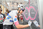 Maglia Bianca Maximilian Schachmann (GER) Quick-Step Floors signs on before the start of Stage 6 of the 2018 Giro d'Italia, running 169km from Caltanissetta to the Etna (Osservatorio Astrofisico) marks the first mountain finish of the race finishing on the Osservatorio Astrofisico climb for the first time in race's history, Sicily, Italy. 10th May 2018.<br /> Picture: LaPresse/Massimo Paolone | Cyclefile<br /> <br /> <br /> All photos usage must carry mandatory copyright credit (&copy; Cyclefile | LaPresse/Massimo Paolone)