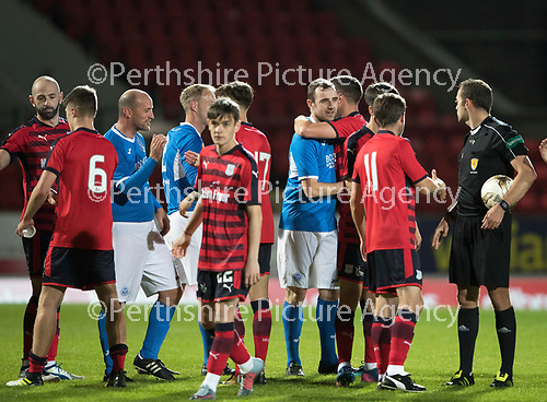 Dave Mackay Testimonial: St Johnstone v Dundee&hellip;06.10.17&hellip;  McDiarmid Park&hellip; <br />Dave Mackay is congratulated at full time by both sets of players<br />Picture by Graeme Hart. <br />Copyright Perthshire Picture Agency<br />Tel: 01738 623350  Mobile: 07990 594431