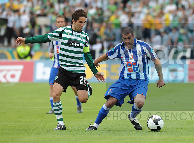 20080518: LISBON, PORTUGAL - Sporting Lisbon vs FC Porto: Portuguese Cup 2007/2008 Final, at Estadio Nacional. In picture: Joao Moutinho (Sporting) and Lisandro Lopez (Porto) . PHOTO: Alvaro Isidoro/CITYFILES