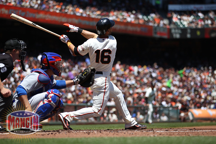 SAN FRANCISCO, CA - JUNE 3:  Angel Pagan #16 of the San Francisco Giants bats against the Chicago Cubs during the game at AT&T Park on Sunday, June 3, 2012 in San Francisco, California. Photo by Brad Mangin