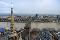 Hohenzollern bridge and Cologne panorama from Koelner Dom Cathedral, Germany