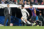 Real Madrid CF's Isco Alarcon and FC Barcelona's Leo Messi and coach Ernesto Valverde during La Liga match. March 02,2019. (ALTERPHOTOS/Alconada)