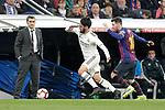 Real Madrid CF's Isco Alarcon and FC Barcelona's Leo Messi and coach Ernesto Valverde during La Liga match. March 02,2019. (ALTERPHOTOS/Alconada)