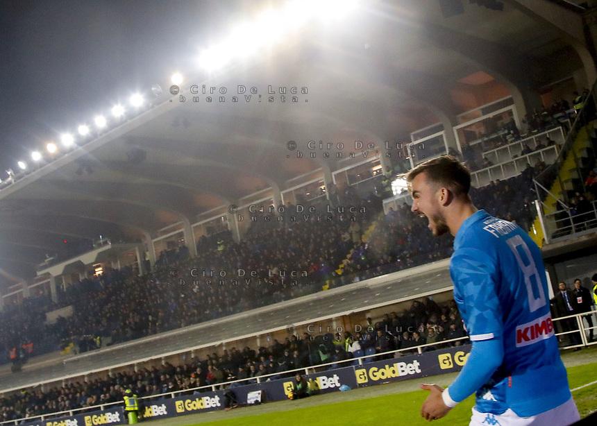 Fabian Ruiz of Napoli celebrates after scoring during the  italian serie a soccer match,Atalanta - SSC Napoli at  the Atleti azure d'italia   stadium in Bergamo Italy , December 03, 2018