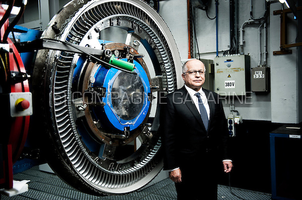 Yves Prete, CEO at the Techspace Aero company which develops and produces modules, equipment and test benches for aeronautical and space engines (Belgium, 07/11/2014)