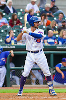 Iowa Cubs infielder Chesny Young (1) at bat during a Pacific Coast League game against the Colorado Springs Sky Sox on June 22, 2018 at Principal Park in Des Moines, Iowa. Iowa defeated Colorado Springs 4-3. (Brad Krause/Four Seam Images)