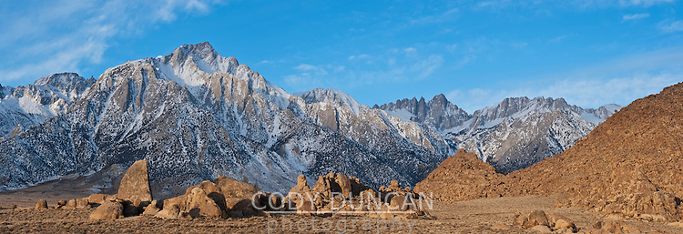 Lone pine peak and Mount Whitney panoramic mountain landscape, Sierra Nevada mountains, California