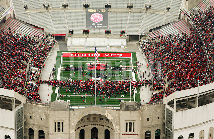 Buckeye fans were invited to celebrate the 2014 National Championship season with head coach Urban Meyer and The Ohio State University football team from 11 a.m. to Noon in Columbus, Ohio Saturday Jan. 24, 2015 at Ohio Stadium. (Columbus Dispatch photo by Craig Holman)