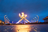 CANADA, Vancouver, British Columbia, located next to the Vancouver Convention Center the sculpture Olympic Cauldron lights up on a Summers night in Coal Harbor