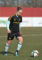 20180221 - TUBIZE , BELGIUM : Belgian Marith De Bondt pictured during the friendly female soccer match between Women under 17 teams of  Belgium and Czech Republic , in Tubize , Belgium . Wednesday 21th February 2018 . PHOTO SPORTPIX.BE / DIRK VUYLSTEKE