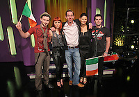 10/02/'11 Ryan Tubridy pictured this afternoon at RTE Studios with 'Bling' (from left, Gari, Marilyn, Tammy and Shane) one the five acts which make up this years hopefulls for Ireland's entry to the Eurosong 2011 Contest. The five acts will perform on tomorrow night's Late Late show ..Picture Colin Keegan, Collins, Dublin.
