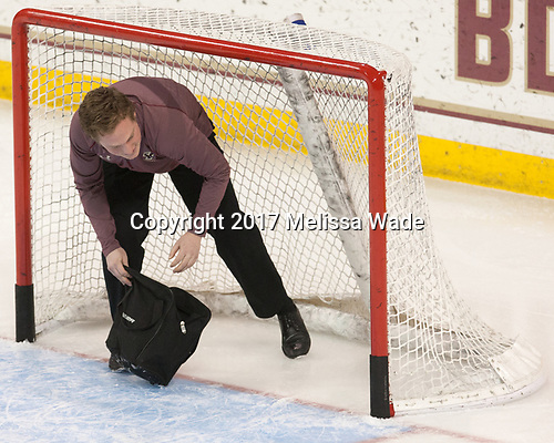Chuck Van Kula (BC - Student Manager) - The visiting Merrimack College Warriors defeated the Boston College Eagles 6 - 3 (EN) on Friday, February 10, 2017, at Kelley Rink in Conte Forum in Chestnut Hill, Massachusetts.