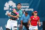 Yasutaka Uchiyama (JPN),<br /> AUGUST 21, 2018 - Tennis : <br /> Mixed Doubles Round of 32<br /> at Jakabaring Sport Center Tennis Court <br /> during the 2018 Jakarta Palembang Asian Games <br /> in Palembang, Indonesia. <br /> (Photo by Yohei Osada/AFLO SPORT)